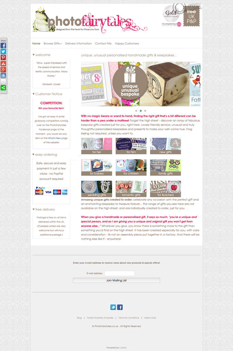 Photo Fairy Tales website using the Boutique template from Create