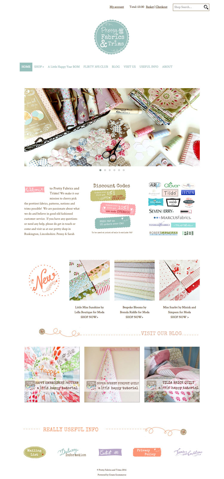 Pretty Fabrics and Trims homepage using pagebuilder