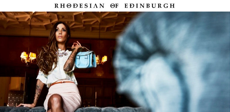 Rhodesian of Edinburgh logo with image of model and bags