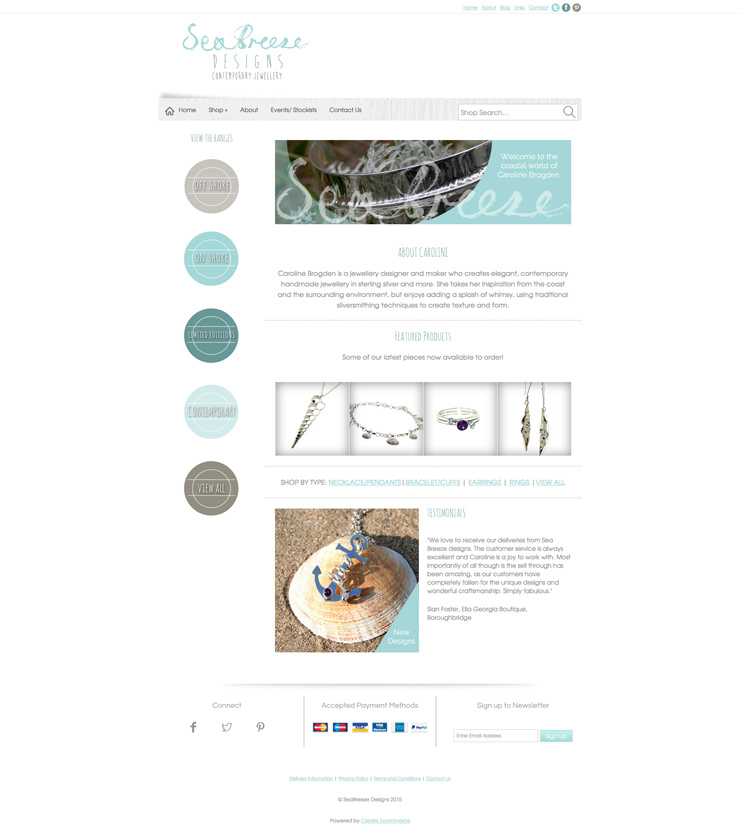 Sea Breeze Designs website homepage using pagebuilder
