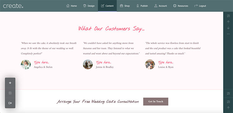Testimonials block on Elegance & Grace Example Home Page