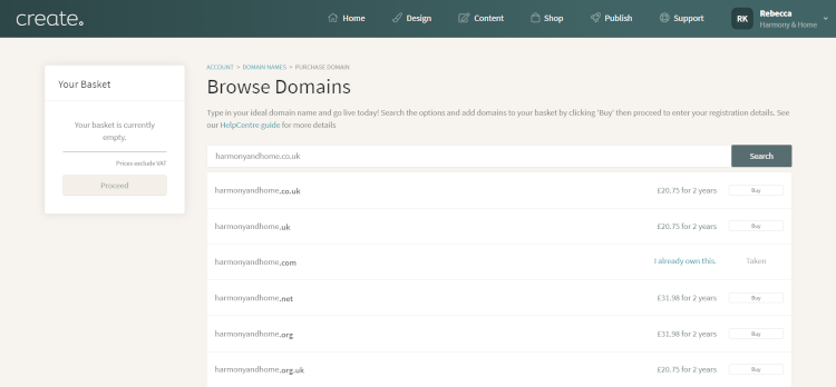Create's Browse Domains Section