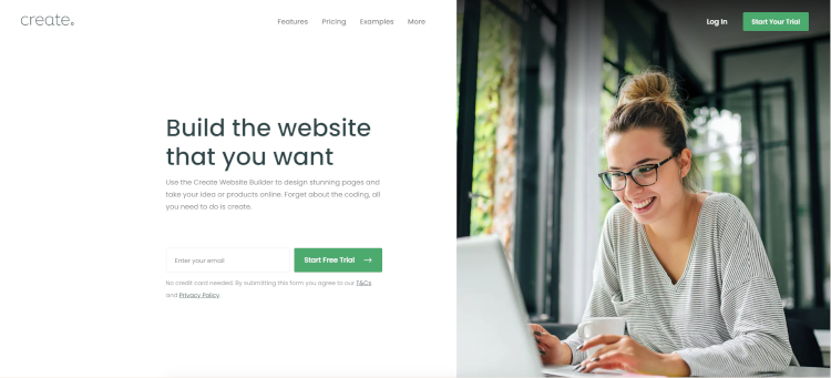 The Create Website Builder Home Page
