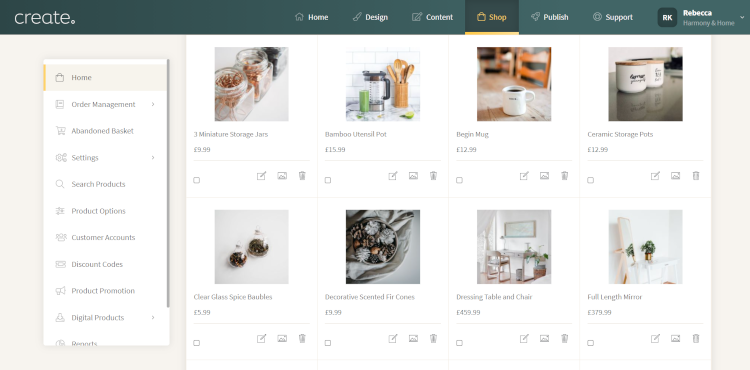 Adding Products in Create Website Builder