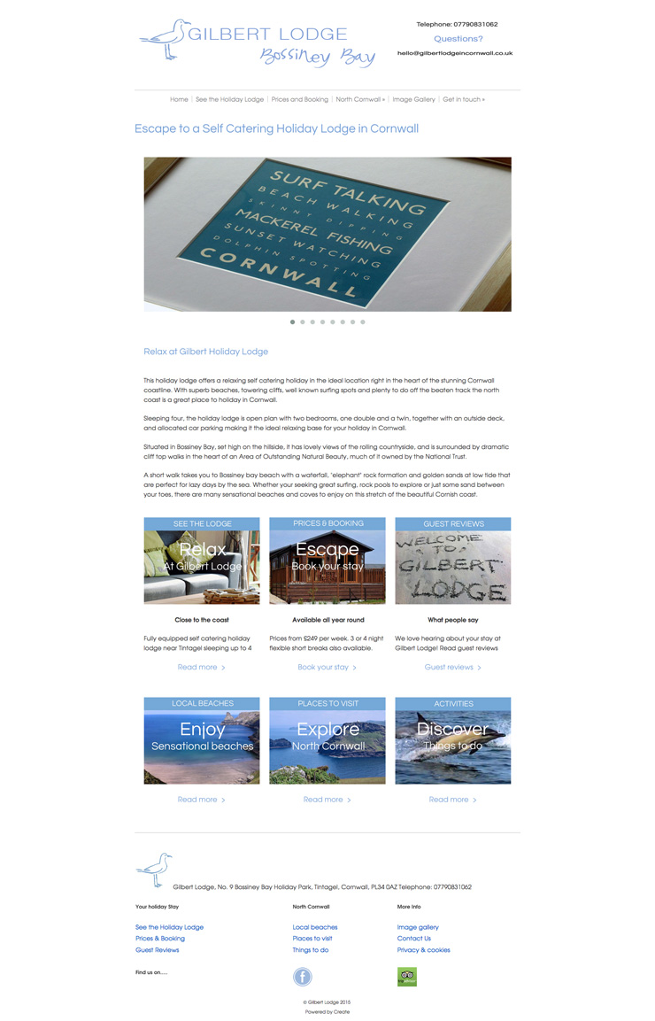 Gilbert Lodge website front page using pagebuilder