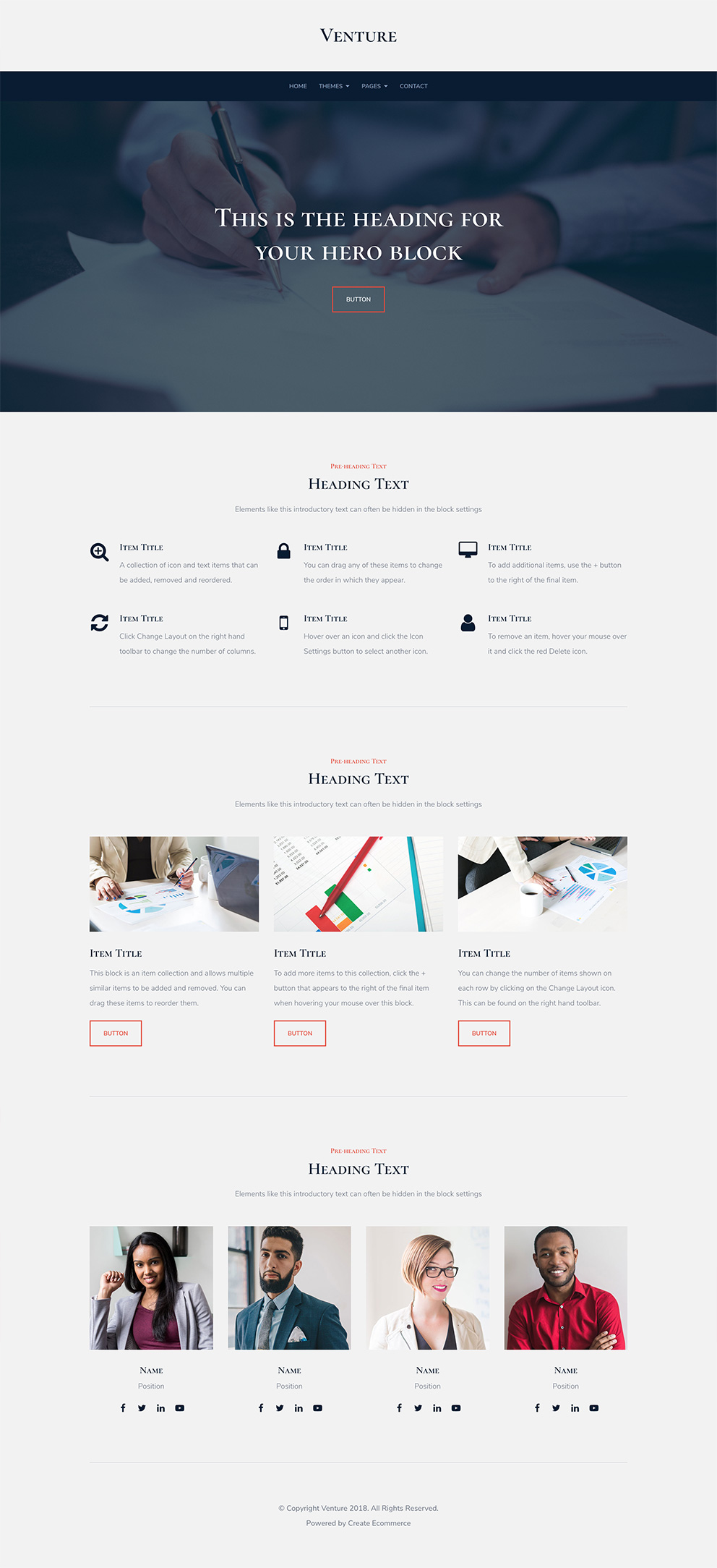 Venture Website Template Preview