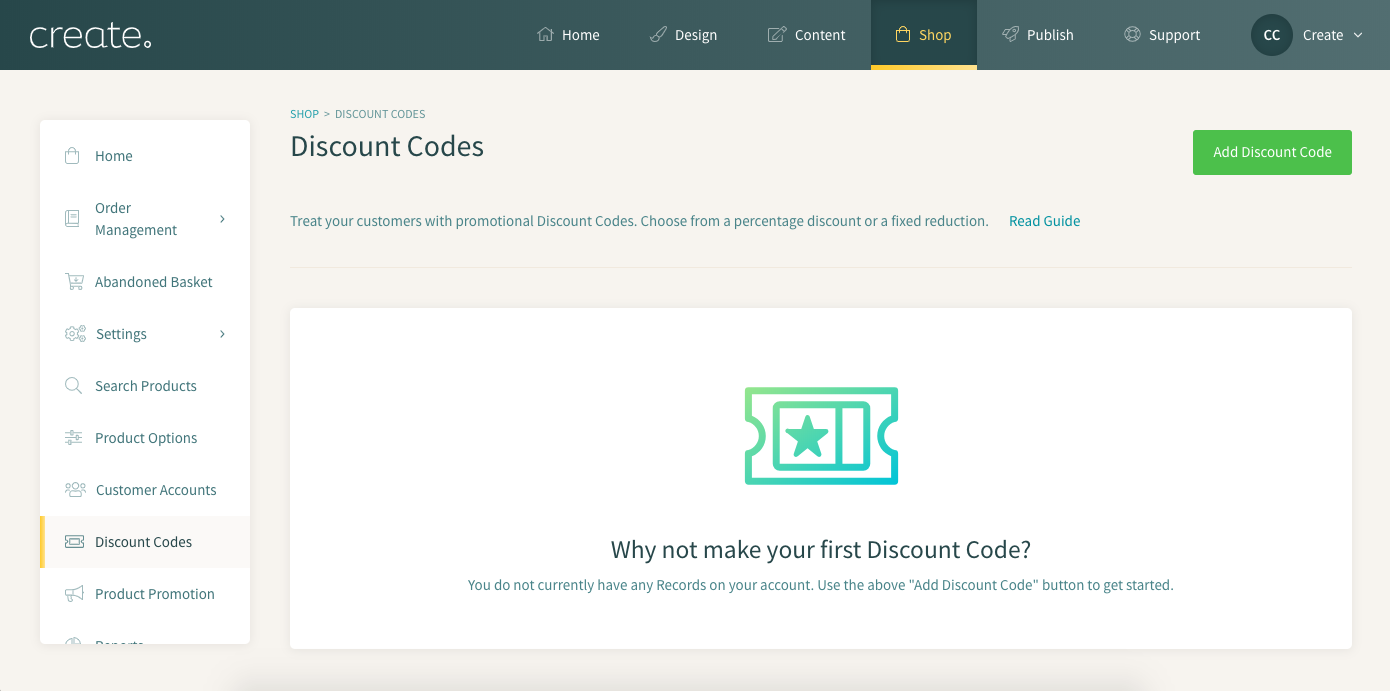 how to set up discount codes create net