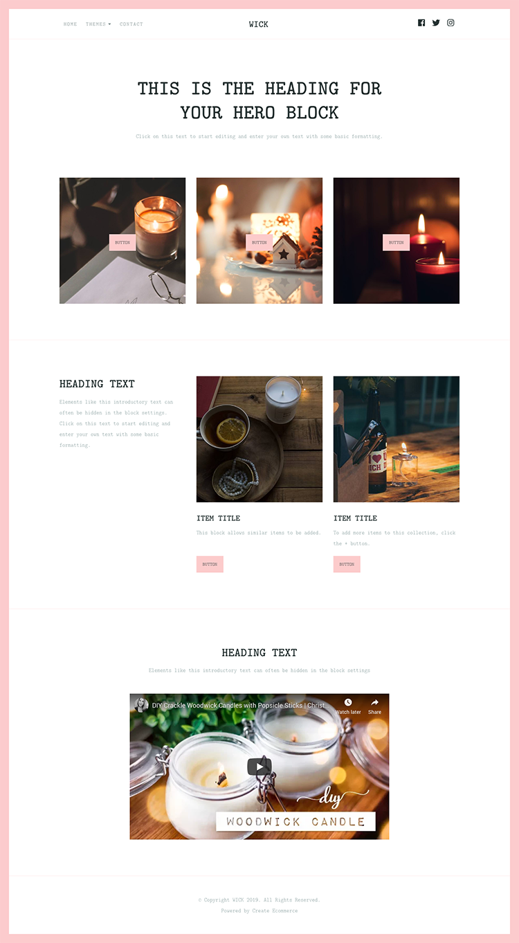 Wick Craft Website Template